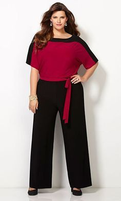 Colorblocked Jumpsuit-Plus Size Jumpsuit-Avenue Mais Plus Size Tips, Looks Plus Size, Plus Size Model, Xl Mode, Mode Plus, Curvy Outfits, Classy Outfits, Fashion Outfits, Black Outfits
