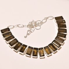 FACETED SMOKY TOPAZ FABULOUS .925 SILVER NECKLACE #Handmade #Choker