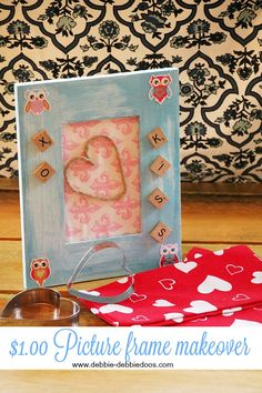How to make over a $1.00 picture frame. Cute makeover that anyone can do. Perfect girlie gift idea.