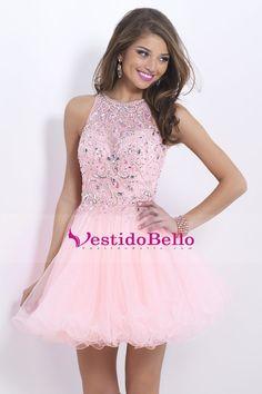 2014 Impresionante una línea corta / mini vestido de fiesta de tul con encaje con cuentas blusa espalda abierta Rosa