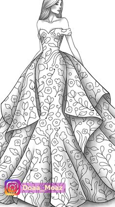 Adult coloring page fashion and clothes colouring sheet model grayscale pdf printable girls relaxing zentangle line art Dress Design Drawing, Dress Design Sketches, Fashion Design Sketchbook, Dress Drawing, Fashion Design Drawings, Clothes Design Drawing, Art Sketchbook, Dress Illustration, Fashion Illustration Dresses
