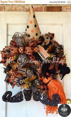 On sale Halloween wreath witch wreath deco by MrsChristmasWorkshop