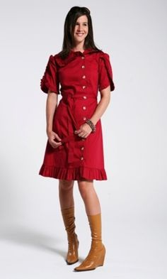 Red Trench Coat Dress with Tulip Sleeves and Cinched Waist $71- add a ruffle at the end if I need length on my trench dress?