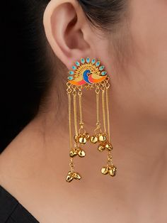 Multicolor Peacock Brass Danglers Earrings