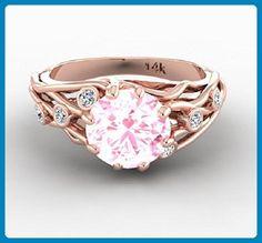 Bohemian Wedding Ring, Natural Morganite Engagement Wedding Ring, Engagement Diamond Rings, Custom Made Unique Wedding Ring, Proposal Ring. - Wedding and engagement rings (*Amazon Partner-Link)