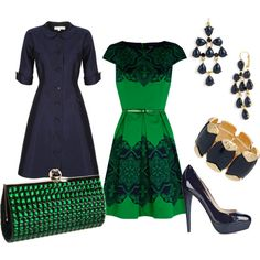 Navy and Green -- vintage inspired coat, Kate Spade clutch