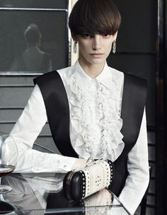Tux redux [Spring/Summer 2013]: The masculine, monochrome tropes of the classic tuxedo are causing a stir in women's cocktail wear.