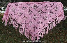Розовая шаль из квадратных мотивов