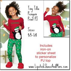 Tiny Tillia Penguin Print PJ set! Made of 100% cotton and includes a sticker sheet to personalize with child's name. This is machine washable. Available sizes are 4/5, 6/6X, 7/8. Price: $19.99 the set.