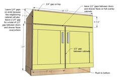 Double Kitchen Sink Cabinet Width - In the past, kitchens were made with no proper design or glamour. Kitchen Cabinet Sizes, Building Kitchen Cabinets, Kitchen Base Cabinets, Diy Cabinets, Kitchen Flooring, Kitchen Sinks, Kitchen Redo, Cabinet Plans, Cabinet Doors