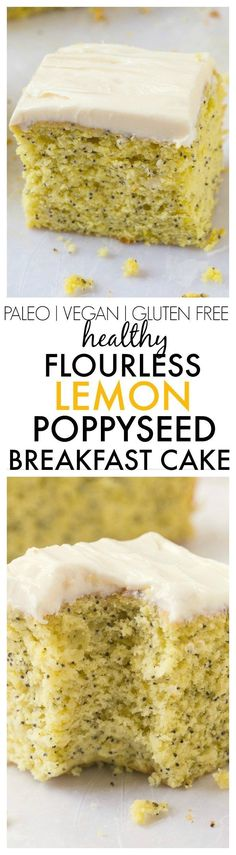Healthy Flourless Lemon Poppy Seed Breakfast Cake- Light and fluffy on the inside, tender on the outside, an accidentally healthy breakfast, dessert or snack- Absolutely NO butter, oil, flour or sugar! {vegan, gluten free, paleo recipe}