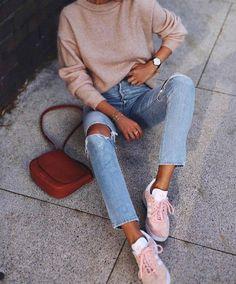Sweater: beige bag brown bag sneakers pink sneakers adidas adidas shoes denim jeans blue jeans