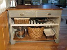 blue roof cabin: KITCHEN ISLAND FROM A DOOR