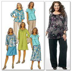 Butterick Pattern Women's Top, Dress, Skirt and Pants, KK (26W, 28W, 30W, 32W)