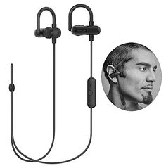 Upgrade QY8 QY11 Bluetooth Headphones with Memory Metal Ear Hooks Wireless Bluetooth V41 Stereo Running Headset Sweatproof QCY APTX InEar Sports Earbuds Earphones Builtin MicrophoneBlack -- For more information, visit image link.