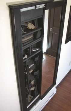 looks like a mirror but its a hidden gun cabinet. Don't want gun cabinet-want jewelry storage! Hidden Gun Storage, Locker Storage, Loft Storage, Storage Spaces, Storage Ideas, Secret Gun Storage, Ammo Storage, Storage Mirror, Weapon Storage