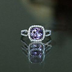 8mm Cusion anillo amatista Natural amatista anillo por CarrieStudio