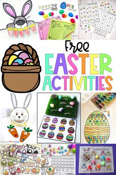 Are you looking for fun and educational Easter activities?  Here is a whole bundle of FREE spring activities that are perfect for kids.  Activities include letter recognition, patterns, beginning reading, name building, and color matching.  Great for Preschool and Kindergarten.