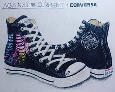 Against The Current x Converse by Haisumi (Both right-foot shoe, just to show the inner design)