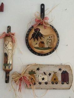 !, Primitive Homes, Primitive Crafts, Wood Crafts, Primitive Folk Art, Primitive Kitchen, Country Primitive, Country Art, Country Crafts, Country Decor