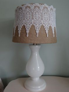 Burlap/Lace lampshade I made. Burlap/Lace lampshade I made. Shabby Chic Furniture, Shabby Chic Decor, Bedroom Furniture, Lace Lampshade, Lampshade Ideas, Crochet Lampshade, Doily Lamp, Vintage Lampshades, Shabby Chic Lamp Shades