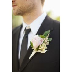 Pale Pink Rose Boutonniere ❤ liked on Polyvore featuring wedding