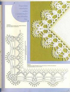 "Photo from album ""Barrados com Cantos on Yandex. Crochet Edging Tutorial, Crochet Border Patterns, Crochet Lace Edging, Crochet Diagram, Doily Patterns, Crochet Chart, Crochet Designs, Crochet Doilies, Crochet Flowers"