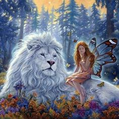 White Lion and Fairy - artist unknown     b