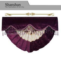 衫衫家纺 高档紫色窗帘 升降罗马帘 扇形帘 雪尼绒窗帘 含轨道