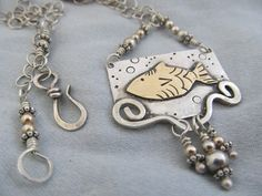 Swimming in the Sterling Sea - A hand crafted Necklace by JoDeneMoneuseJewelry, $95.00