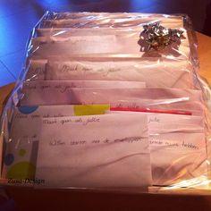 Koop of maak iets wat in een envelop past en schrijf een toepasselijke tekst op de envelop. Voorbeeld: Maak open als jullie de wittebroodsweken willen verlengen. De inhoud van de envelop is dan mix voor wit brood