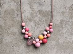 Wooden bead necklace pink lilac coral yellow bib by LeafFeather, $39.00