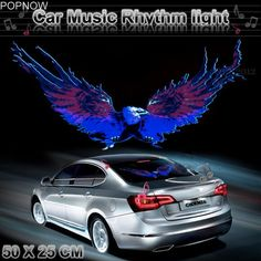 check price popnow 50x25cm car sticker led activated equalizer flash light decal car styling music #windshield #decal