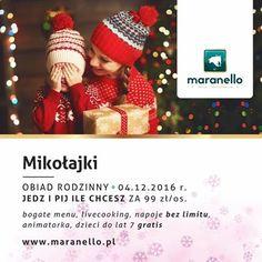 Śnieg za oknem wprowadza nas w świąteczny nastrój... Zima, święta, prezenty.... W niedzielę podczas brunchu odwiedzi nas Mikołaj/ animator, który będzie bawił się z dziećmi po to aby nasi goście mogli korzystać bez ograniczeń z oferty JESZ I PIJESZ ILE CHCESZ ! Maranello Hotel & Restaurants :) www.maranello.pl