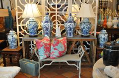 Blue and white #toile #vases and #lamps at #PalmBeach #Mecox #interiordesign #MecoxGardens #furniture #shopping #home #decor #design #room #designidea #vintage #antiques #garden