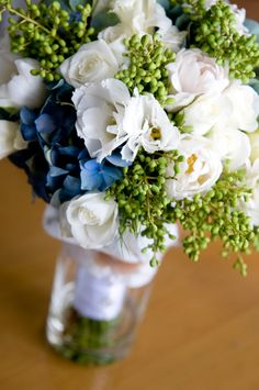 Beautiful hints of blue hydrangea perfect for my bouquet with some white snowberries instead of the green.