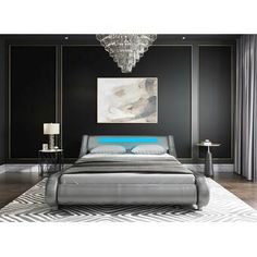 Wade Logan Mallory Upholstered Platform Bed & Reviews | Wayfair Bed With Led Lights, Headboard With Lights, Bed Frame And Headboard, Led Bed Frame, Full Bed Frame, Master Bedroom Interior, Small Room Bedroom, Bedroom Size, Bedroom Bed