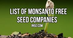 The following is a list of Monsanto Free Seed Companies. If the government will not stand up for our rights, then it is time to make a statement on our own. Personally, I've bought seeds from Baker Creek Seed Company, who have a very large assortment of heirloom seeds, but feel free to shop and …