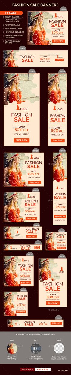 Fashion Sale Web Banners Template PSD #ads Download: http://graphicriver.net/item/fashion-sale-banners/13363376?ref=ksioks