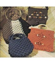 14 Purses Handbags Macrame Patterns - Detailed Instructions - Knotting Diagrams - Vintage Craft Book