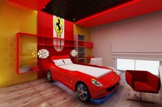 Kids bedroom, Ferrari room Modern, wood panels, bedroom design, contemporary interior, luxury, lebanese architects,