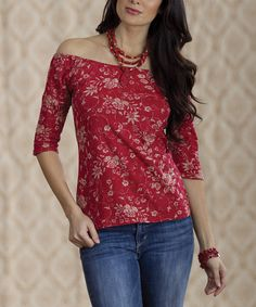 Red Vine Rose Textured Top