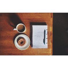 coffee. donut. journal.