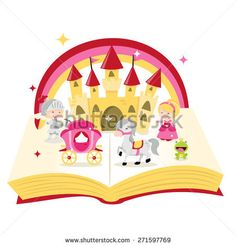 A cartoon vector illustration of fairytale story book filled with castle, knight, princess and carriages.