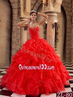 Red Ruffled Organza Beaded Sweetheart Quinceanera Dresses
