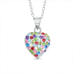 Multi-Color Crystal Heart Pendant in Sterling Silver - - View All - PAGODA.COM