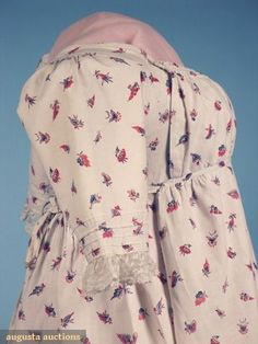 Augusta Auctions Printed cotton round gown, English, c. 1800