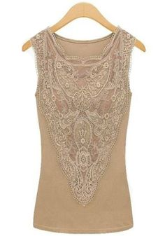 Apricot Plain Lace Sleeveless Chiffon Vest