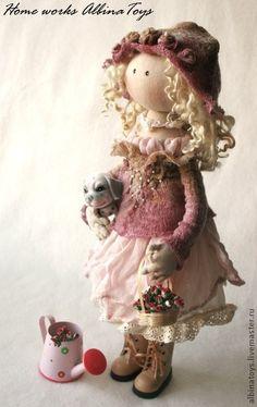 Коллекционные куклы ручной работы. Коллекционная текстильная кукла Rose в розово- сиреневыхтонах.. ALBINAToys.. Интернет-магазин Ярмарка Мастеров. Розовый
