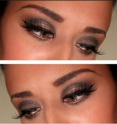 A bronze mixed with a dark gray! Throw some fake eyelashes and itll be a bomb shell deal.